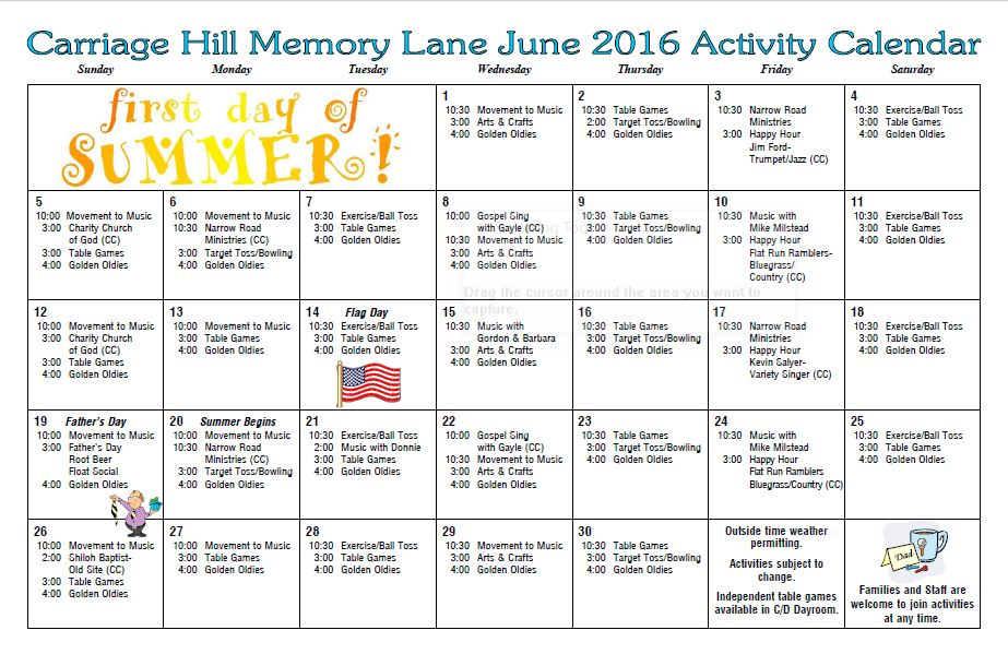 Carriage Hill Health  Rehab Center  Activity Calendar  June