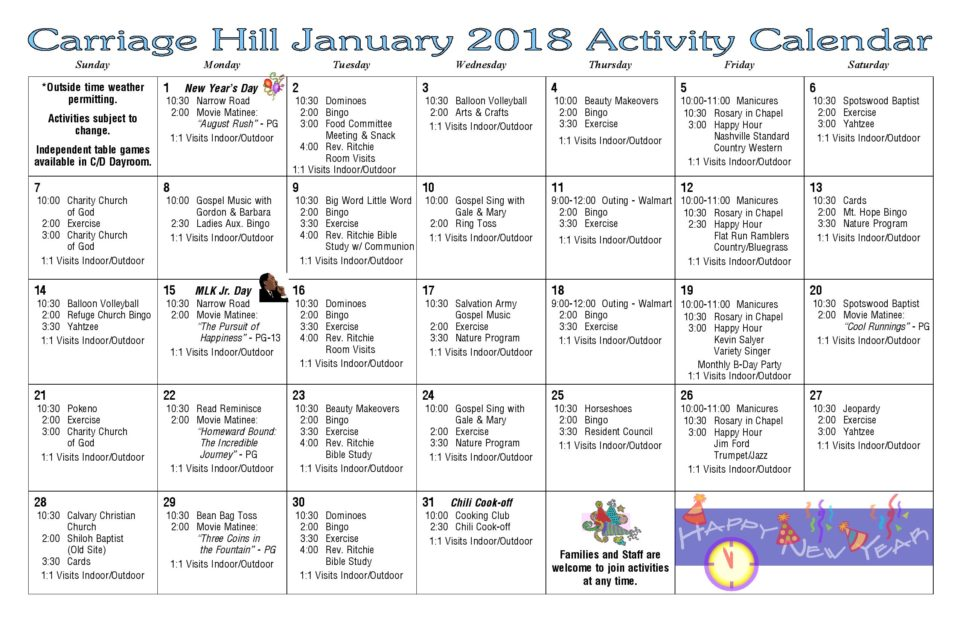 Activity Calendar - January 2018 - Carriage Hill Health