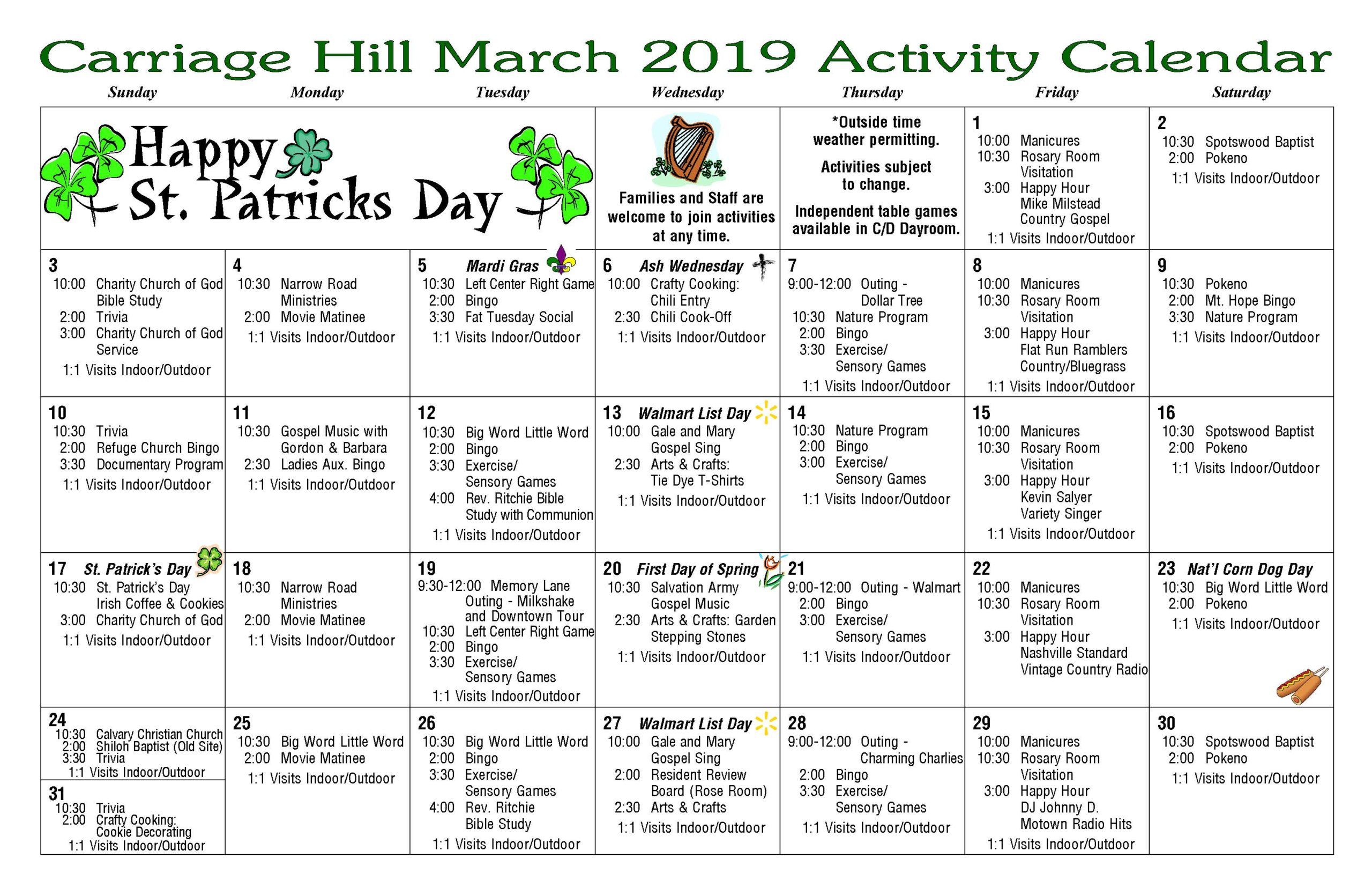 March 2019 Activities Calendar Carriage Hill Health